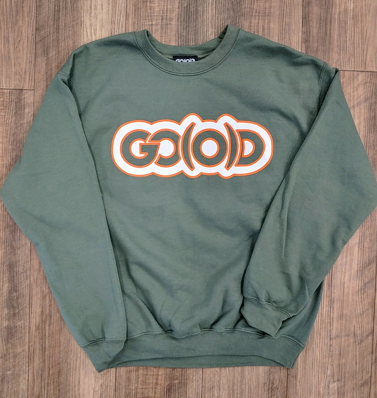GO(O)D Crewneck Sweatshirt-military green/white/orange trim