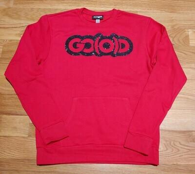 GO(O)D Front Pocket Unisex Sweatshirt-red/black glitter logo