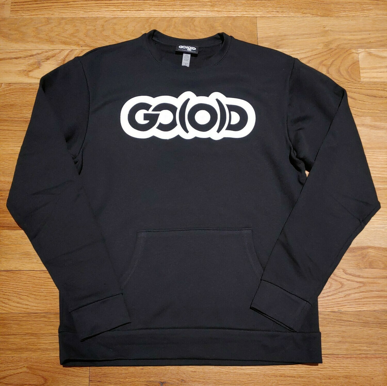 GO(O)D Unisex Front Pocket Sweatshirt-black/white glitter logo