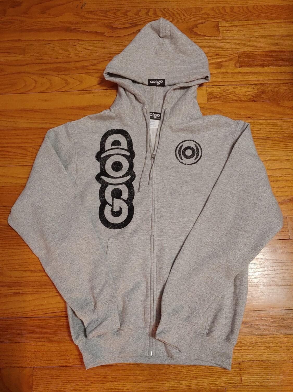 GO(O)D Zip Up Hoodie-athletic heather/black glitter logos