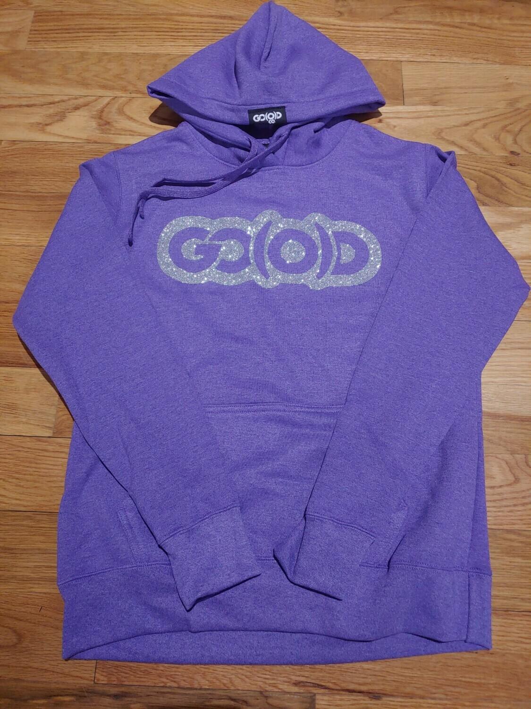 Women's GO(O)D Hoodie-purple/silver glitter logo