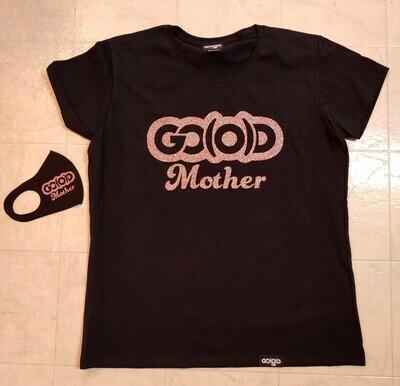 GO(O)D Mother Tee-black/rose gold glitter logo *MASK NOT INCLUDED*