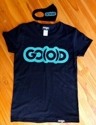 GO(O)D Tee and Mask Combo-black/teal sparkle logos