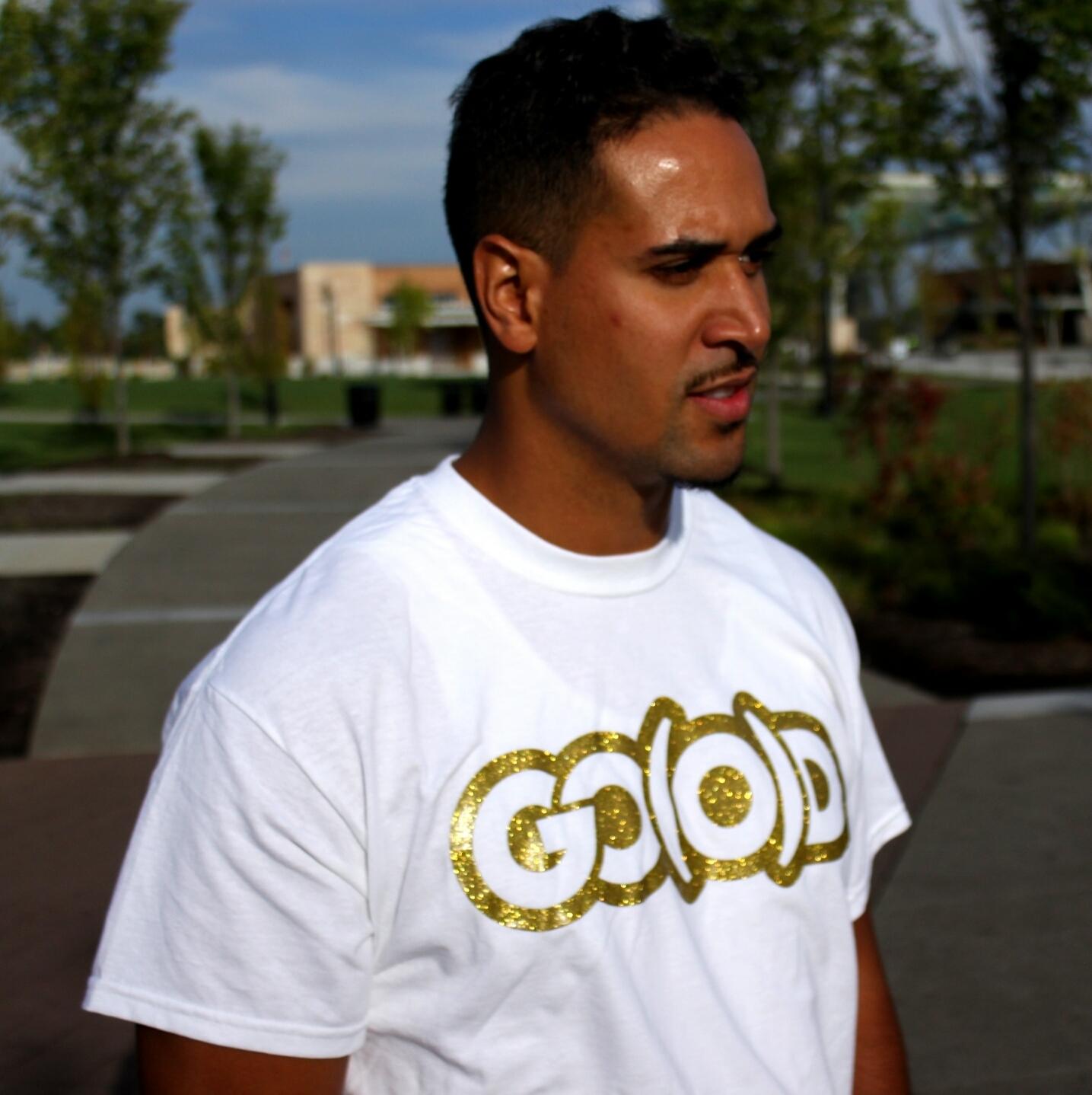 GO(O)D Gold glitter tee-white 00081