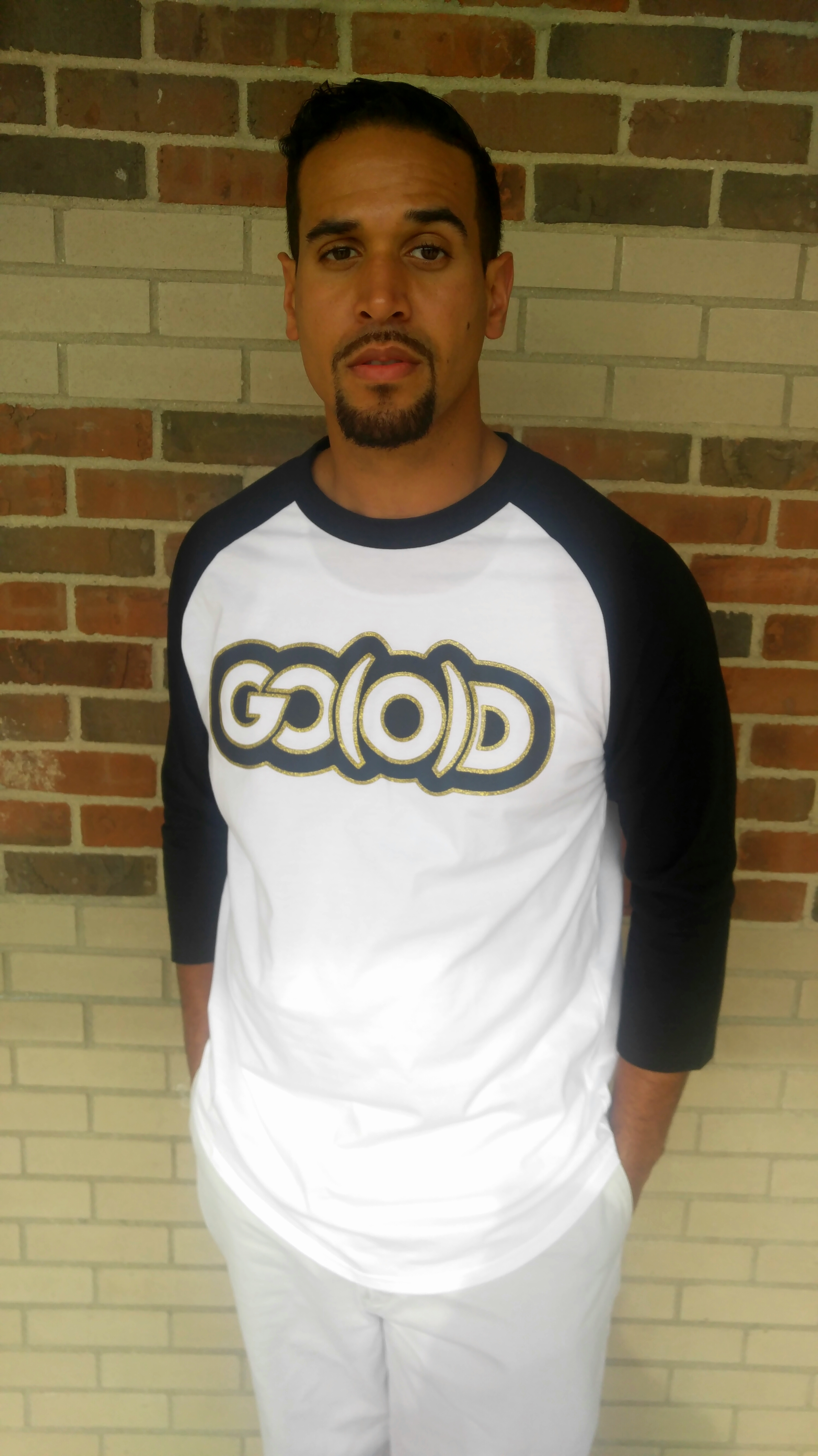 GO(O)D baseball tee-black/white/gold glitter trim 00088