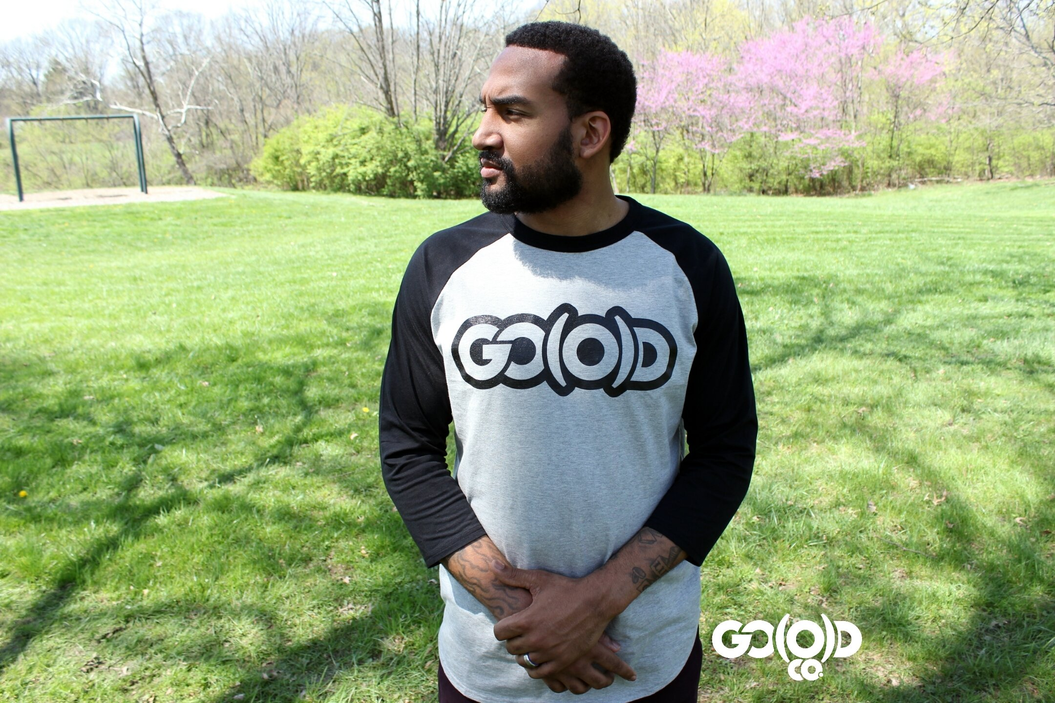 GO(O)D Baseball tee-Gray/black 00110