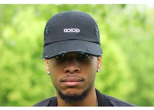 *SOLD OUT* GO(O)D Distressed Dad Hat-black/white 00118
