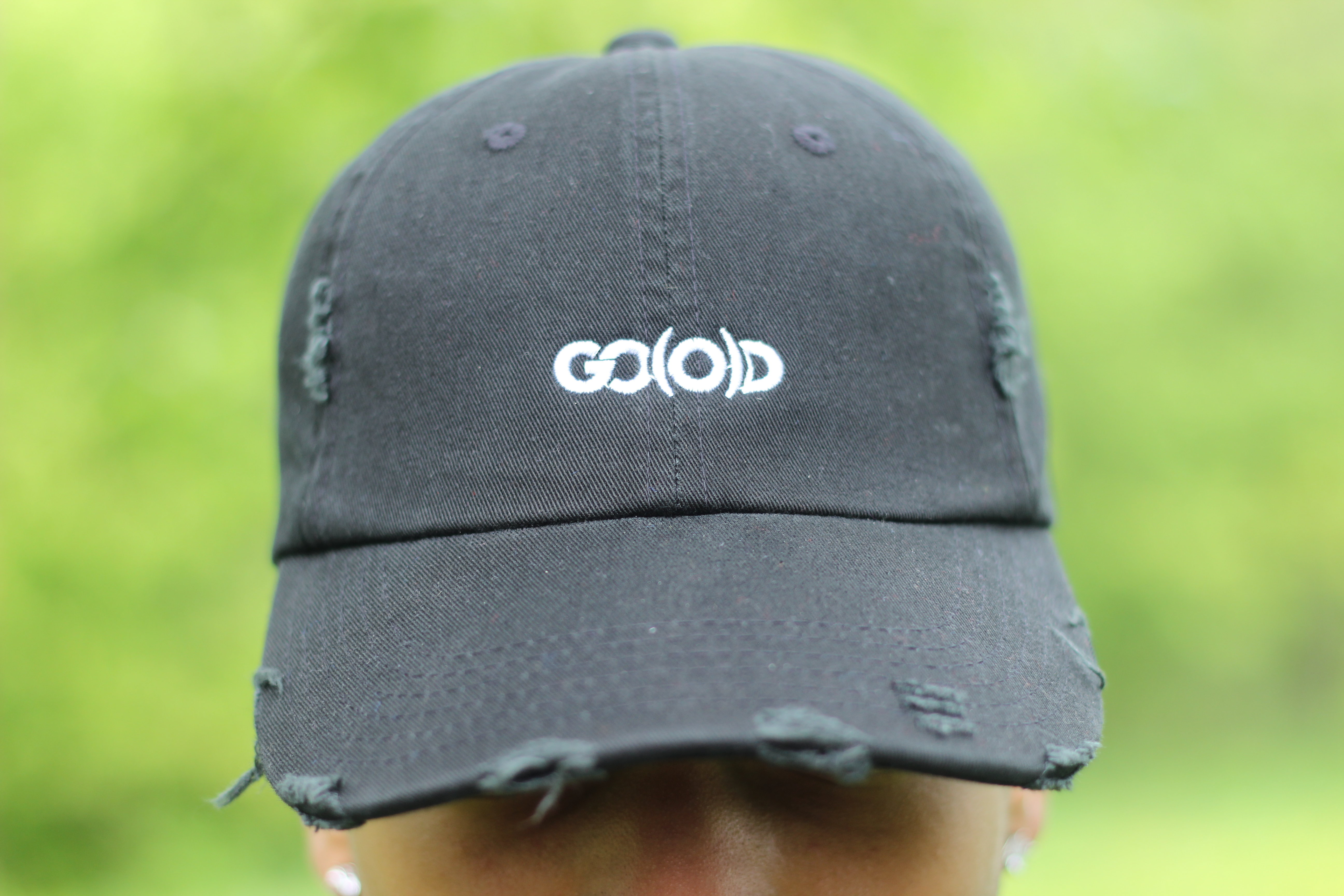 *SOLD OUT* GO(O)D Distressed Dad Hat-black/white