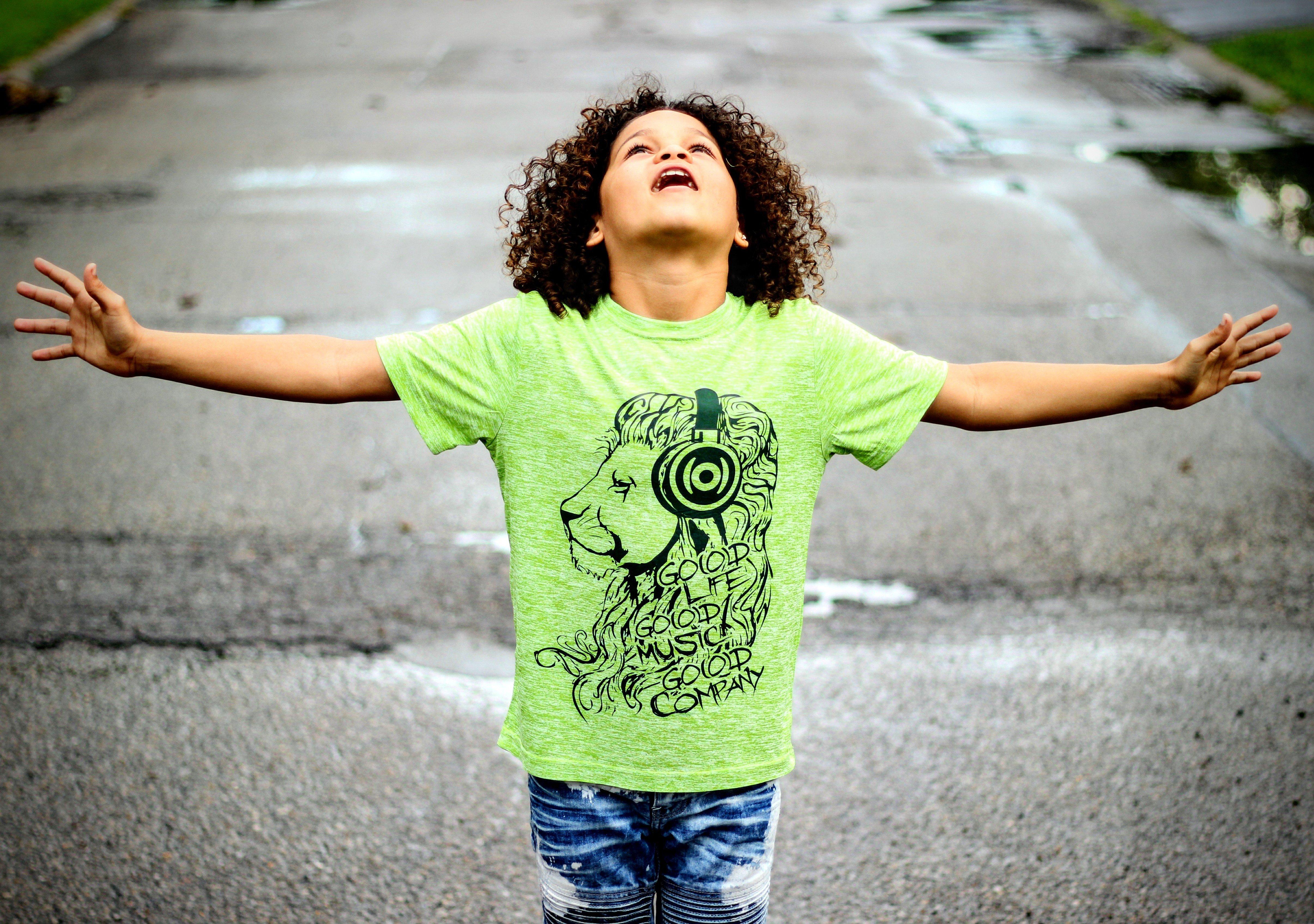 kids GO(O)D Lion tee-neon green 00154