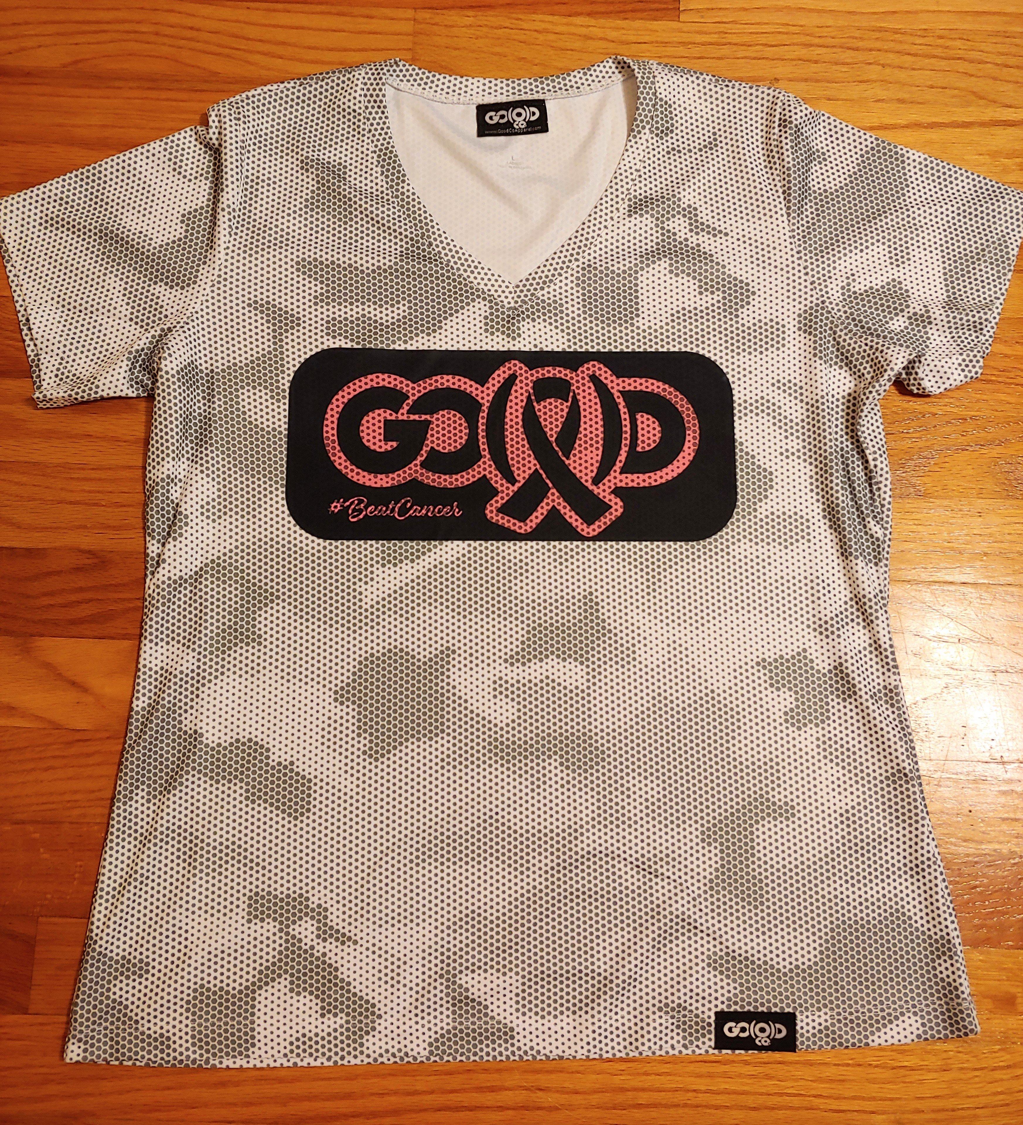 Women's GO(O)D V-Neck Cancer tee-gray/white fatigue/pink 00173