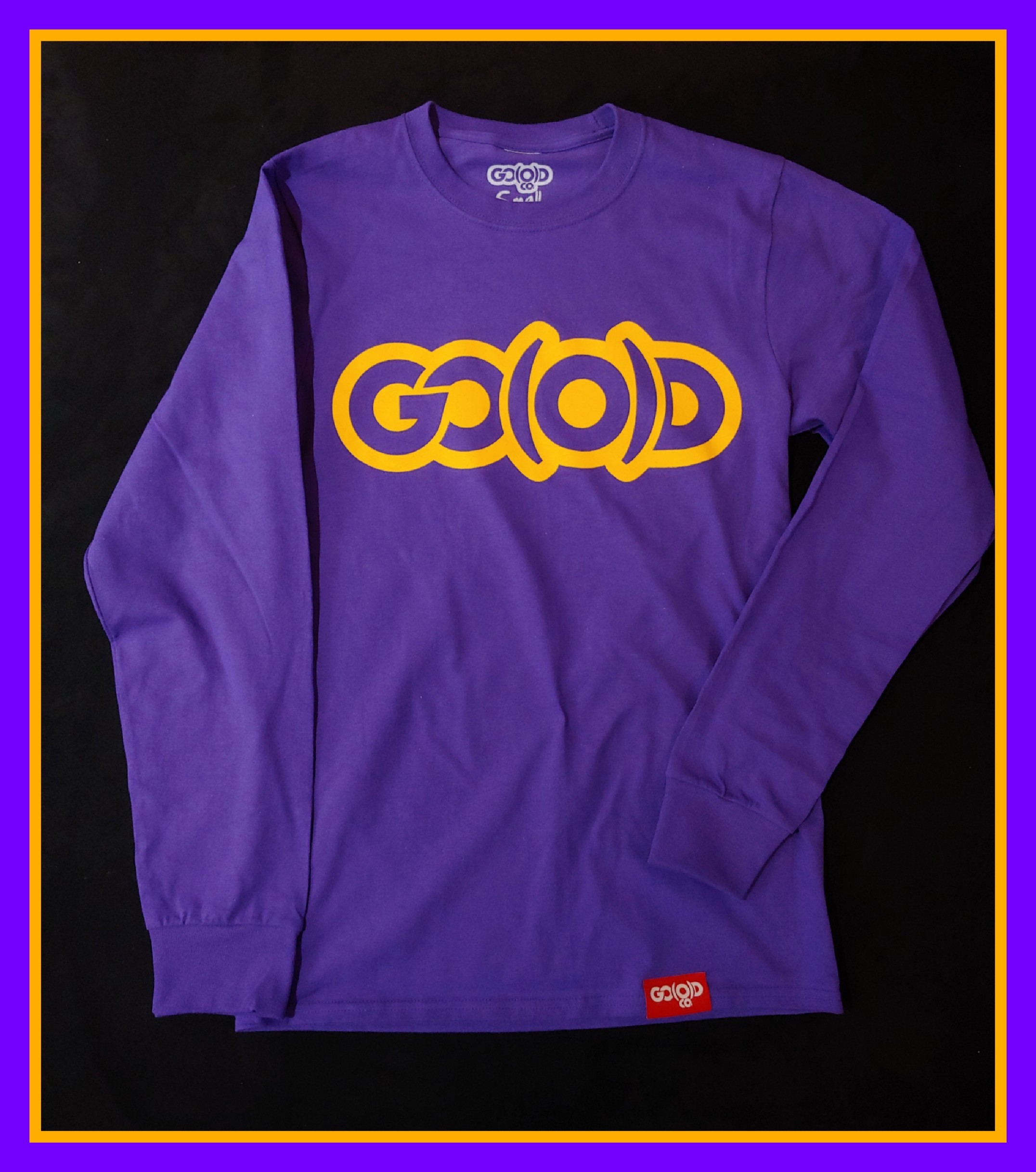 Men's Dual Logo long sleeve tee-purple/yellow 00192