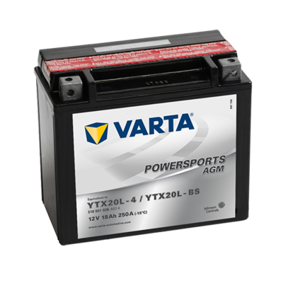 VARTA AGM MC Batteri 12V 18AH 250CCA (177x88x156mm) +høyre YTX20L-BS
