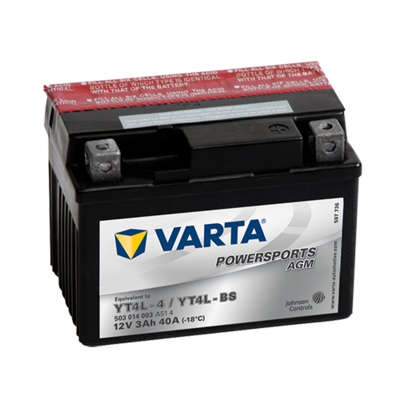 VARTA AGM MC Batteri 12V 3AH 40CCA (114x71x86mm) +høyre YTX4L-BS