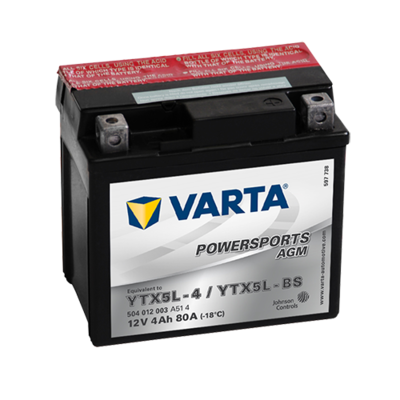VARTA AGM MC Batteri 12V 4AH 80CCA (114x71x106mm) +høyre YTX5L-BS