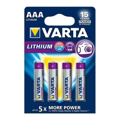 VARTA Lithium AAA 1,5V 4-pakning