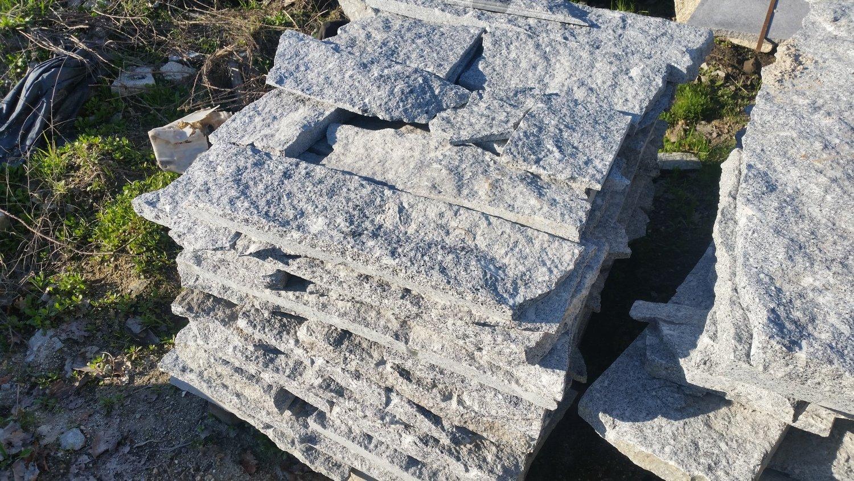 Pierre De Parement En Granit revêtement en opus de granit gris/bleu amares