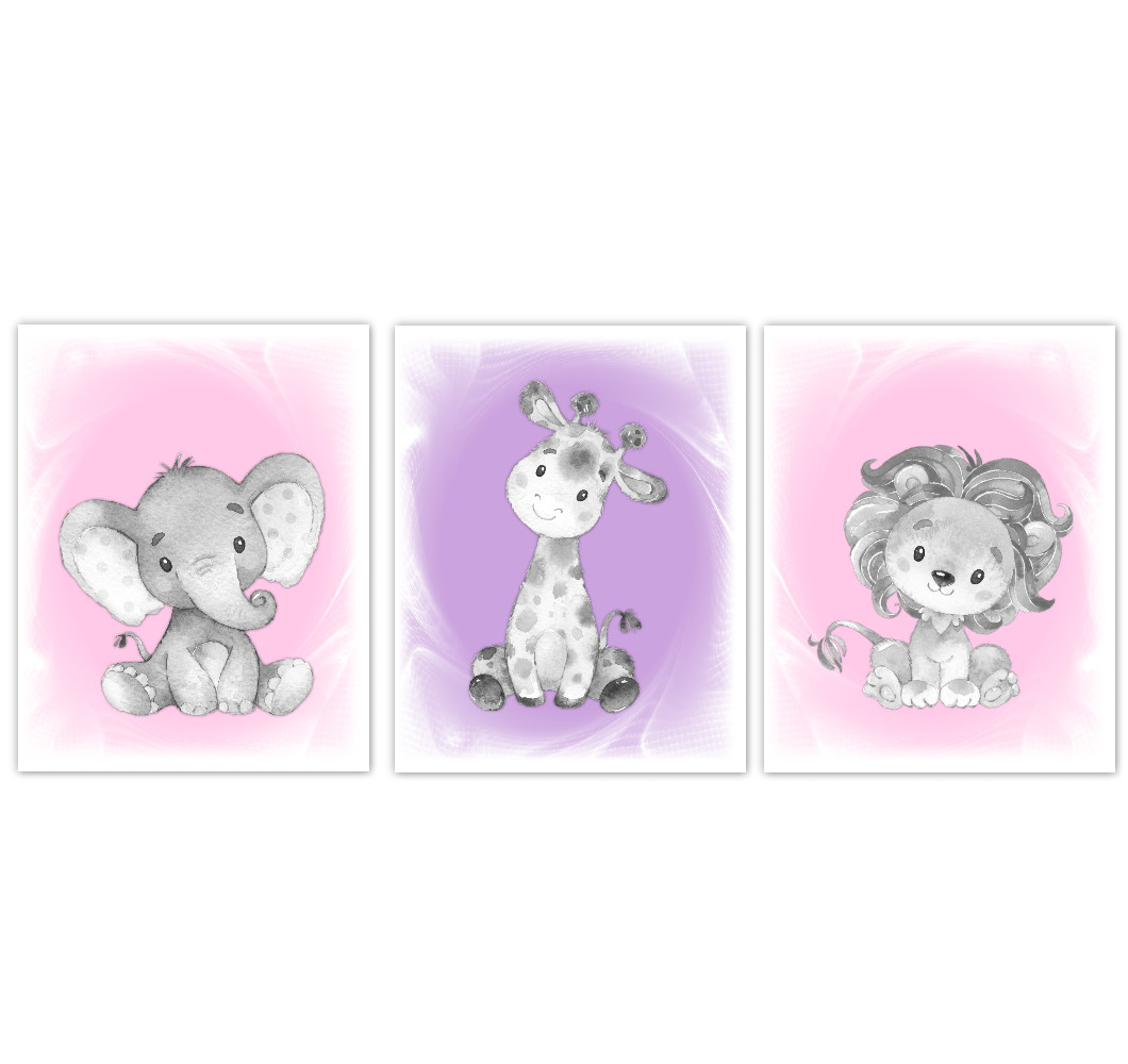 Safari Animals Baby Girl Nursery Decor Pink Purple Wall Art Prints Elephant  Giraffe Lion Home Decor Kids Bedroom Set of 3 UNFRAMED PRINTS or CANVAS