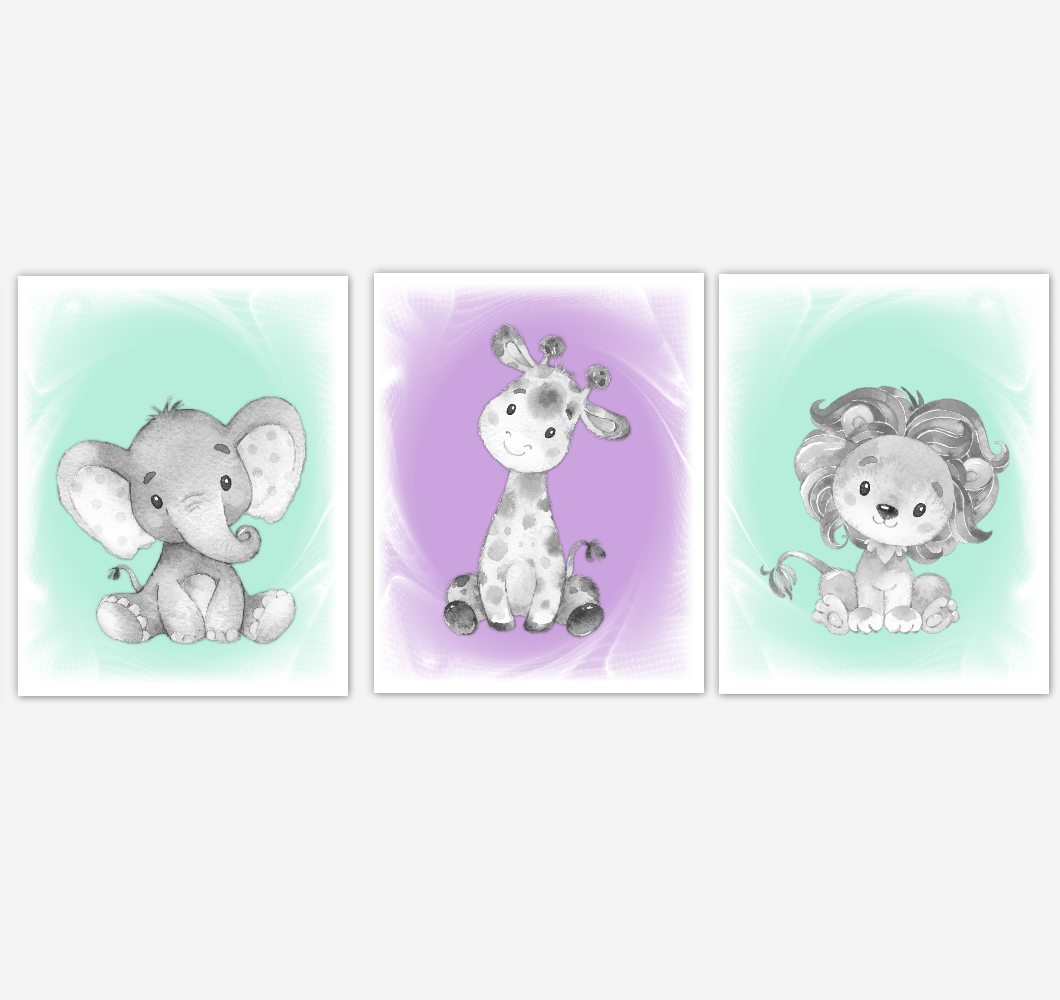 Safari Animals Baby Girl Nursery Decor Mint Green Purple Wall Art Prints Elephant Giraffe Lion Home Decor Kids Bedroom Pictures Set of 3 UNFRAMED PRINTS or CANVAS 02012
