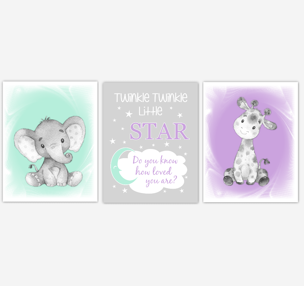 Safari Animals Baby Girl Nursery Decor Mint Green Purple Wall Art Prints Elephant Giraffe Home Decor Kids Bedroom Pictures Set of 3 UNFRAMED PRINTS or CANVAS 02014