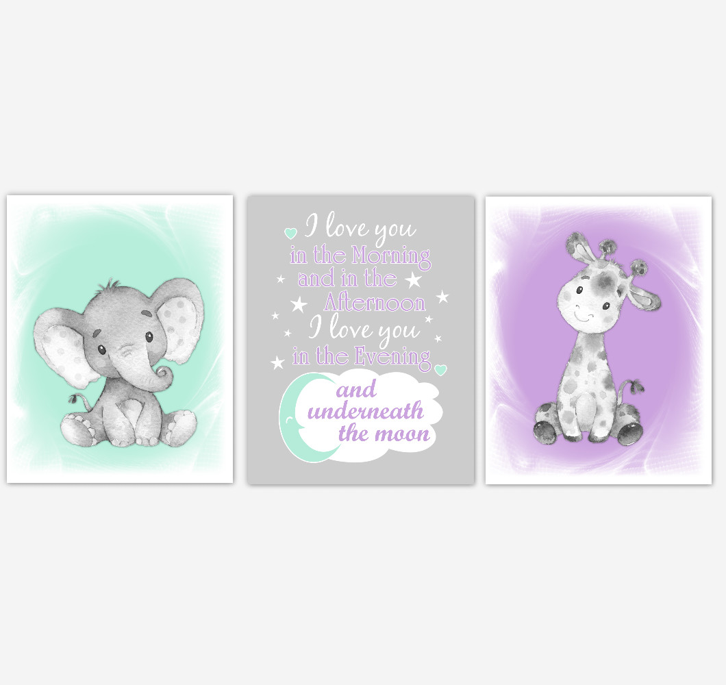 Safari Animals Baby Girl Nursery Decor Mint Green Purple Wall Art Prints Elephant Giraffe Home Decor Kids Bedroom Pictures Set Of 3 Unframed Prints Or