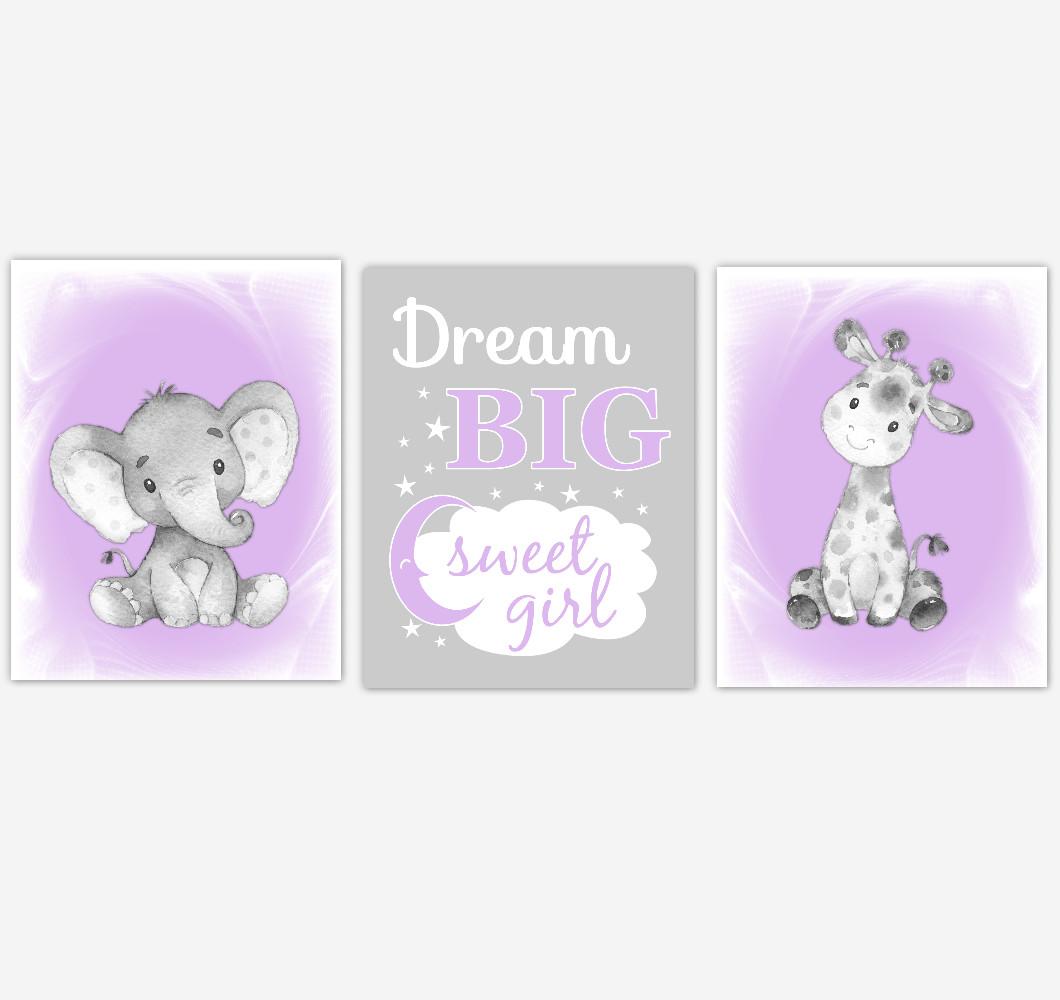 Safari Animals Baby Girl Nursery Decor Purple Lavender Wall Art Prints Elephant Giraffe Home Decor Kids Bedroom Pictures Set of 3 UNFRAMED PRINTS or CANVAS
