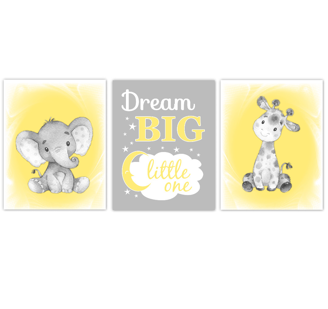 Safari Animals Gender Neutral Yellow Baby Nursery Decor Purple Lavender Wall Art Prints Elephant Giraffe Home Decor Kids Bedroom Pictures Set of 3 UNFRAMED PRINTS or CANVAS