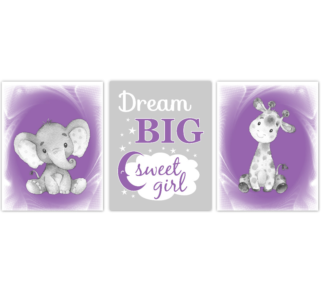 Safari Animals Purple Baby Girl Nursery Decor Wall Art Prints Elephant Giraffe Home Decor Kids Bedroom Pictures Set of 3 UNFRAMED PRINTS or CANVAS