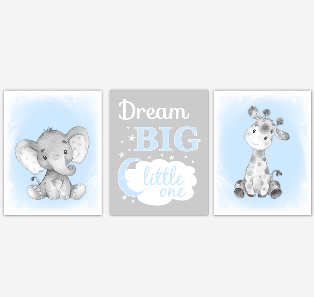 Safari Animals Blue Baby Boy Nursery Decor Wall Art Prints Elephant Giraffe Home Decor Kids Bedroom Pictures Set Of 3 Unframed Prints Or Canvas