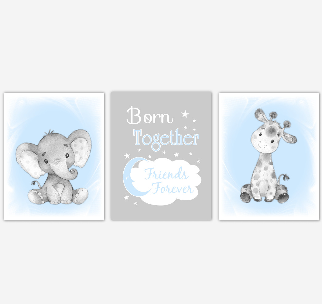 Twins Safari Animals Blue Baby Boy Nursery Decor Wall Art Prints Elephant Giraffe Home Decor Kids Bedroom Pictures​ Set of 3 UNFRAMED PRINTS or CANVAS