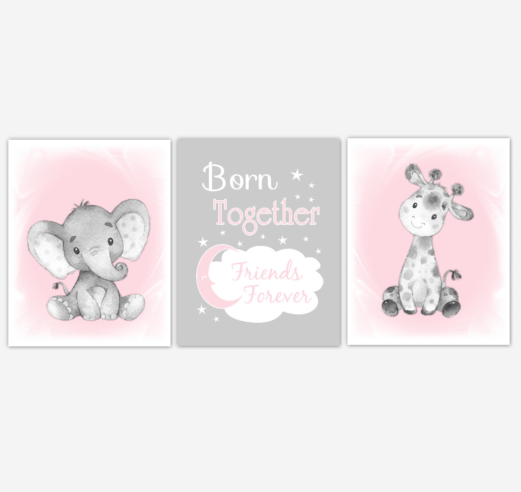 Twins Safari Animals Pink Baby Girl Nursery Decor Wall Art Prints Elephant Giraffe Home Decor Kids Bedroom Pictures​ Set of 3 UNFRAMED PRINTS or CANVAS