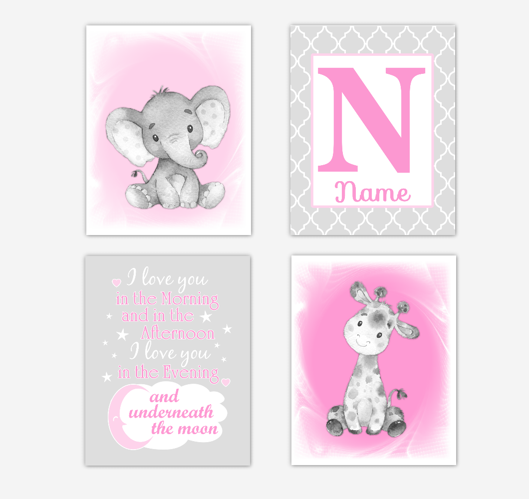 Safari Animals Pink Baby Girl Nursery Decor Wall Art Prints Elephant Giraffe Personalized Pictures New Baby Girl SET OF 4 UNFRAMED PRINTS or CANVAS 02033
