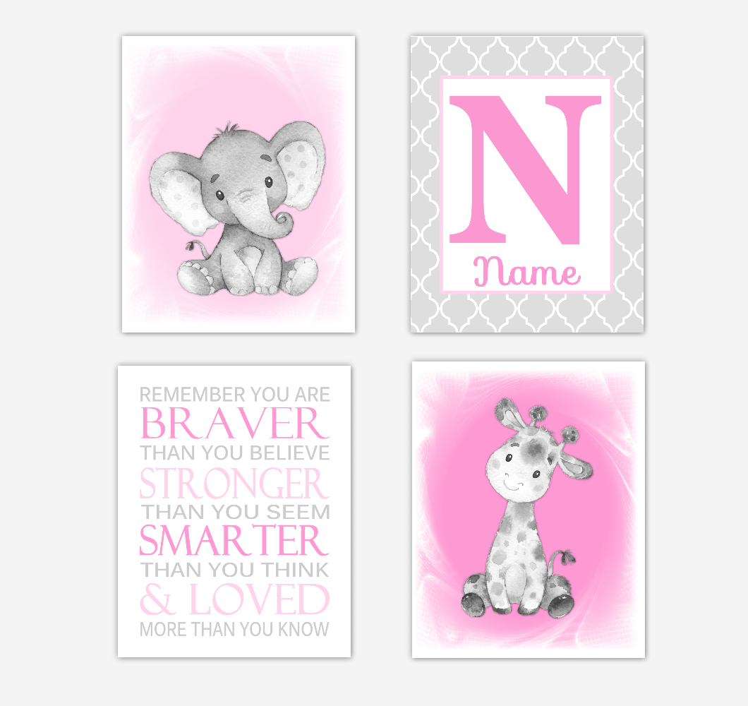Safari Animals Pink Baby Girl Nursery Decor Wall Art Prints Elephant Giraffe Personalized Pictures New Baby Girl SET OF 4 UNFRAMED PRINTS or CANVAS 02034