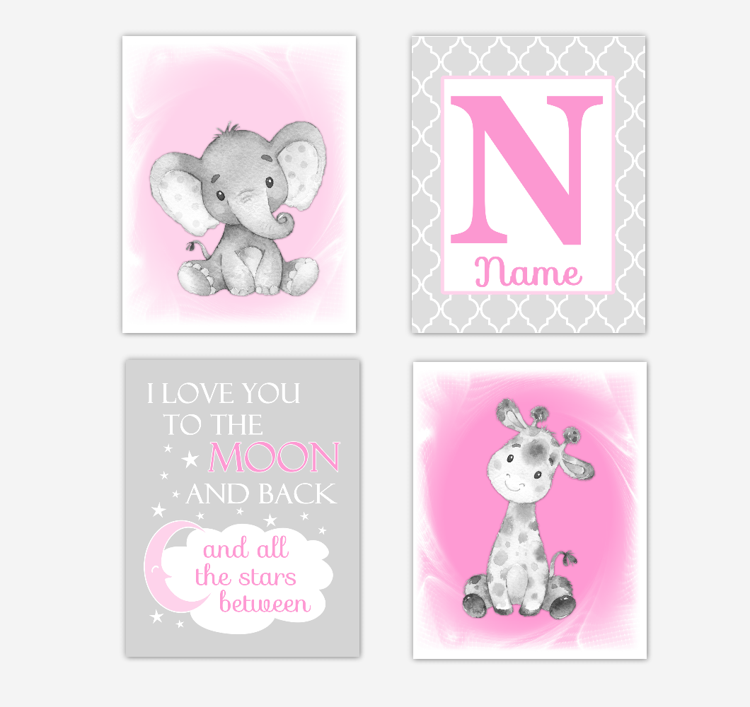 Safari Animals Pink Baby Girl Nursery Decor Wall Art Prints Elephant Giraffe Personalized Pictures New Baby Girl SET OF 4 UNFRAMED PRINTS or CANVAS 02035