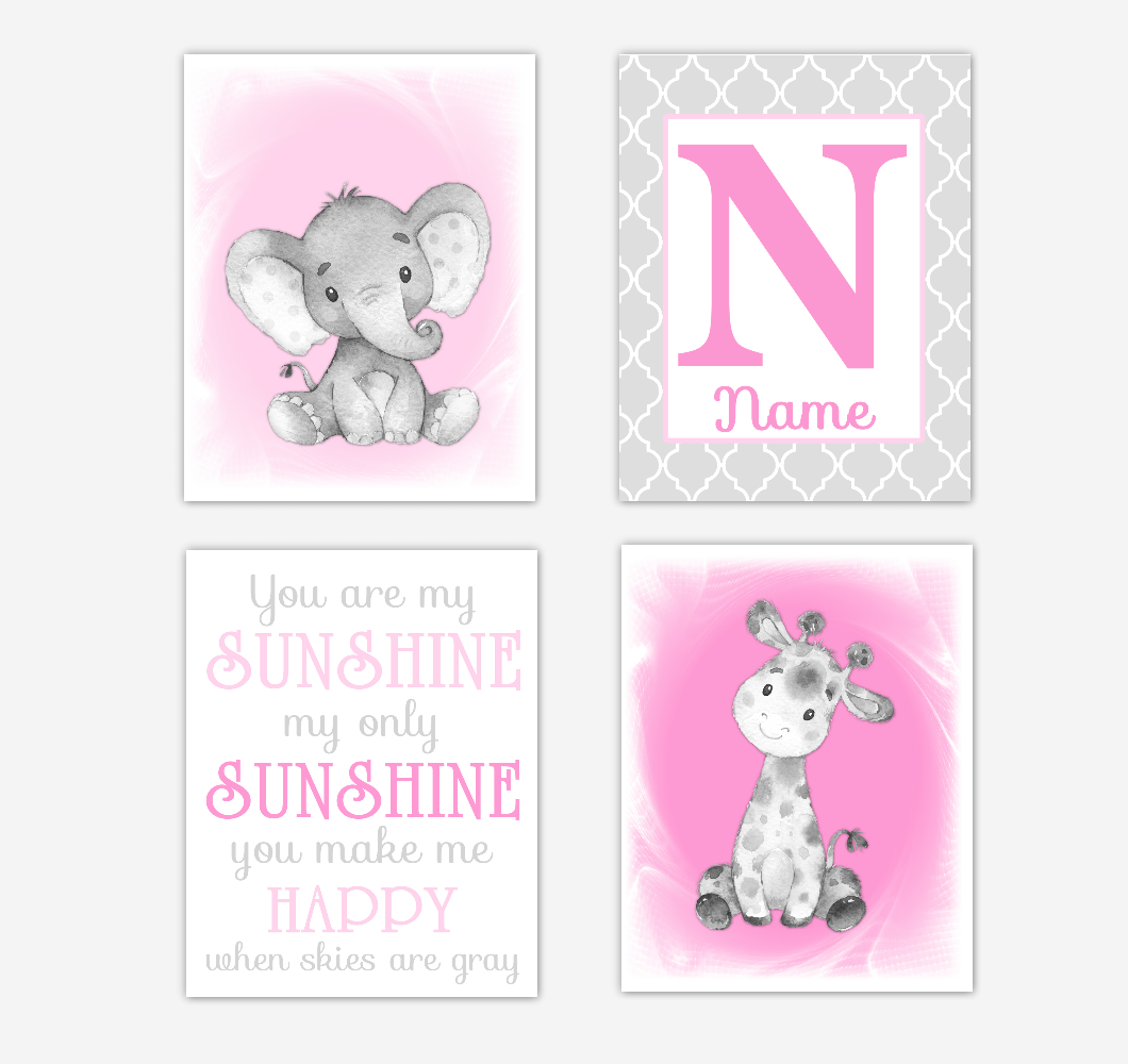 Safari Animals Pink Baby Girl Nursery Decor Wall Art Prints Elephant Giraffe Personalized Pictures New Baby Girl SET OF 4 UNFRAMED PRINTS or CANVAS 02037