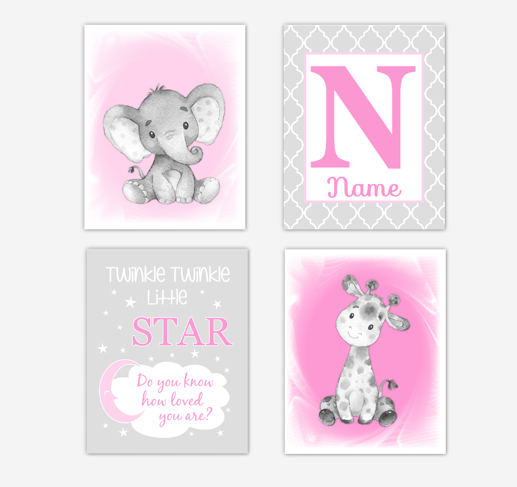 Safari Animals Pink Baby Girl Nursery Decor Wall Art Prints Elephant Giraffe Personalized Pictures New Baby Girl SET OF 4 UNFRAMED PRINTS or CANVAS 02038