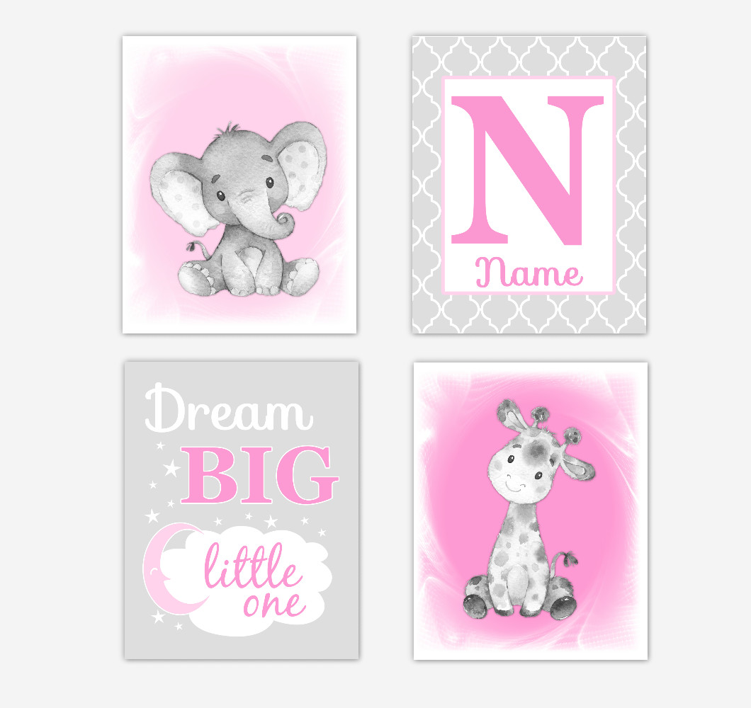 Safari Animals Pink Baby Girl Nursery Decor Wall Art Prints Elephant Giraffe Personalized Pictures New Baby Girl SET OF 4 UNFRAMED PRINTS or CANVAS