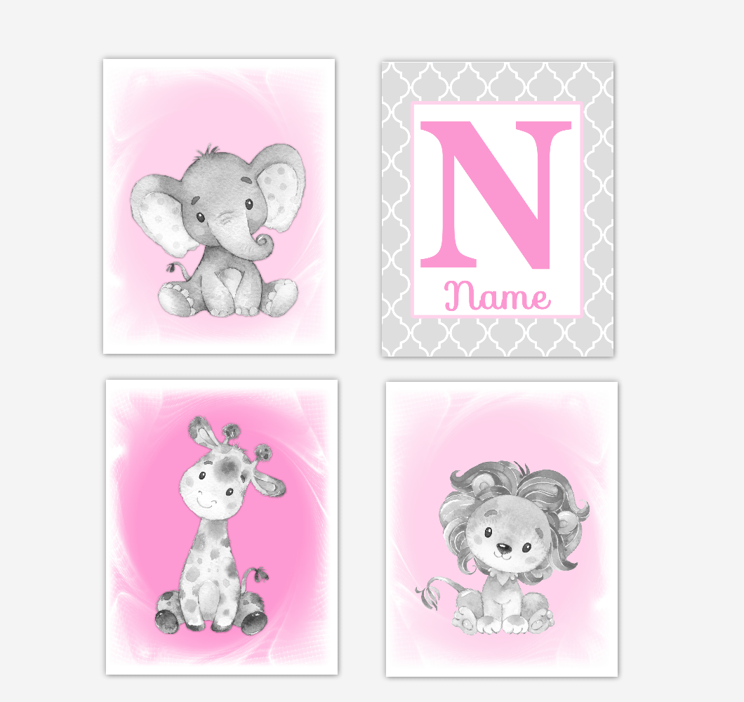 Safari Animals Pink Baby Girl Nursery Decor Wall Art Prints Elephant Giraffe Lion Personalized Pictures New Baby Girl SET OF 4 UNFRAMED PRINTS or CANVAS 02040