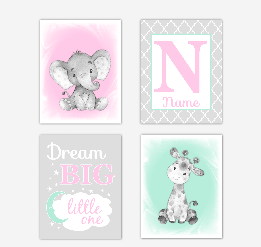 Safari Animals Pink Mint Green Baby Girl Nursery Decor Wall Art Prints Elephant Giraffe Personalized Pictures New Baby Girl SET OF 4 UNFRAMED PRINTS or CANVAS 02041