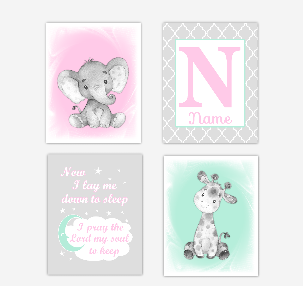 Safari Animals Pink Mint Green Baby Girl Nursery Decor Wall Art Prints Elephant Giraffe Personalized Pictures New Baby Girl SET OF 4 UNFRAMED PRINTS or CANVAS 02042