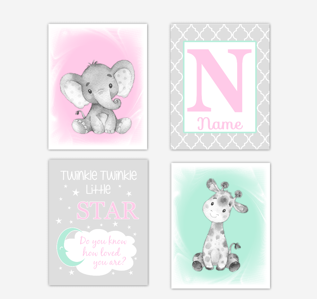 Safari Animals Pink Mint Green Baby Girl Nursery Decor Wall Art Prints Elephant Giraffe Personalized Pictures New Baby Girl SET OF 4 UNFRAMED PRINTS or CANVAS 02044