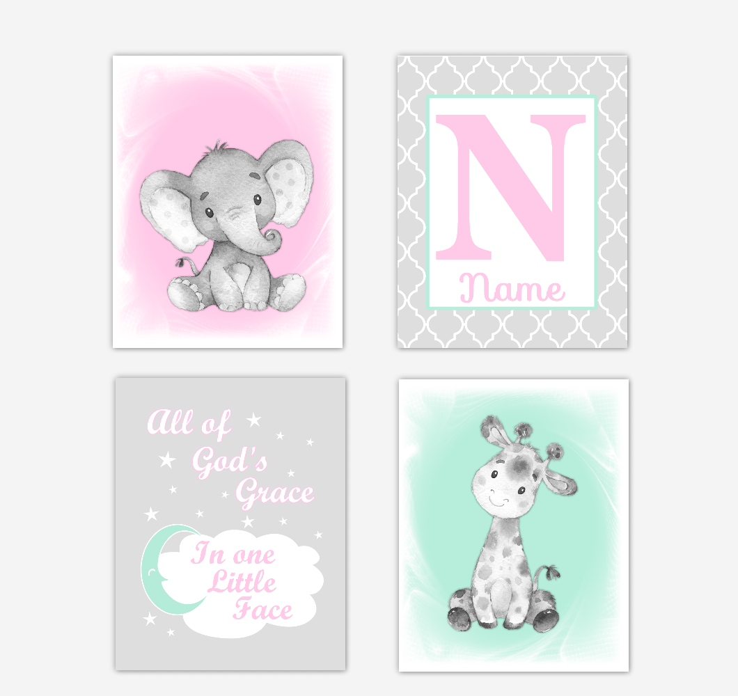 Safari Animals Pink Mint Green Baby Girl Nursery Decor Wall Art Prints Elephant Giraffe Personalized Pictures New Baby Girl SET OF 4 UNFRAMED PRINTS or CANVAS 02045