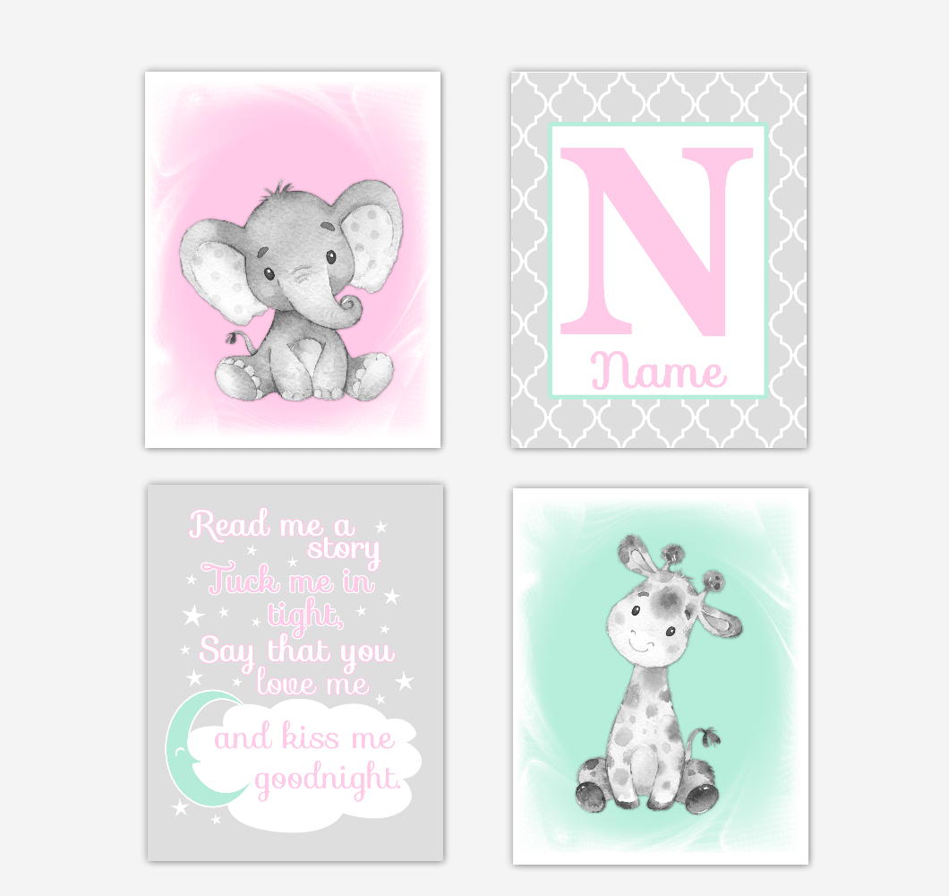Safari Animals Pink Mint Green Baby Girl Nursery Decor Wall Art Prints Elephant Giraffe Personalized Pictures New Baby Girl SET OF 4 UNFRAMED PRINTS or CANVAS 02046