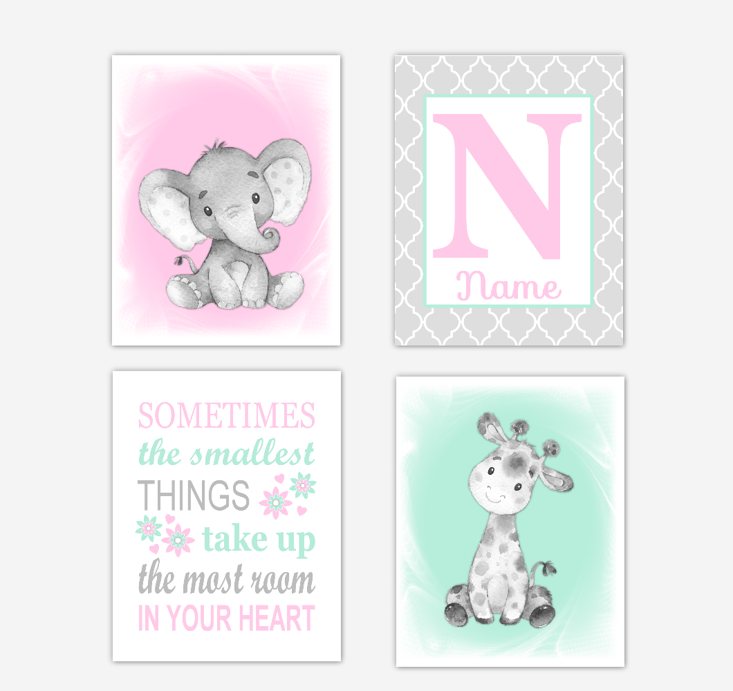 Safari Animals Pink Mint Green Baby Girl Nursery Decor Wall Art Prints Elephant Giraffe Personalized Pictures New Baby Girl SET OF 4 UNFRAMED PRINTS or CANVAS 02047