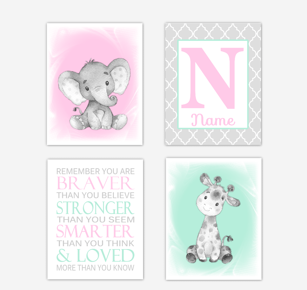 Safari Animals Pink Mint Green Baby Girl Nursery Decor Wall Art Prints Elephant Giraffe Personalized Pictures New Baby Girl SET OF 4 UNFRAMED PRINTS or CANVAS 02048