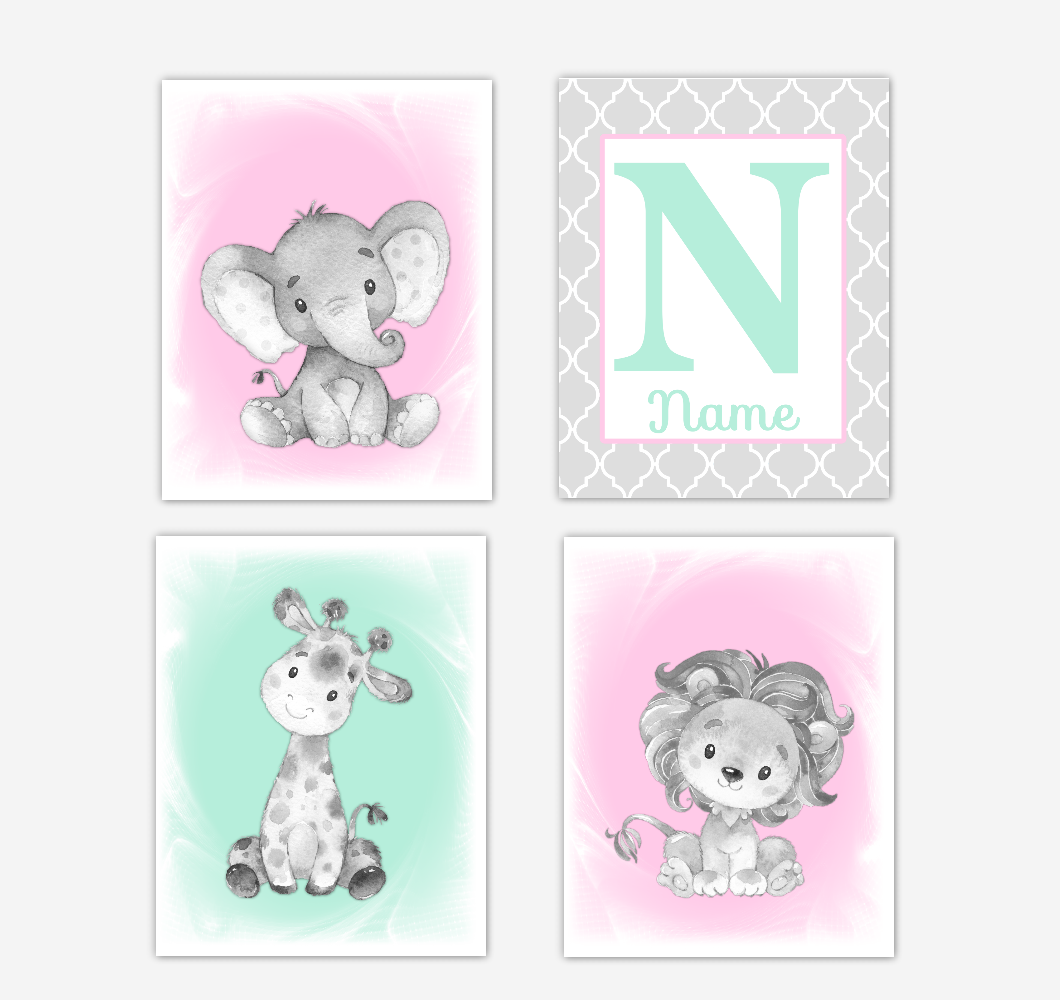 Safari Animals Pink Mint Green Baby Girl Nursery Decor Wall Art Prints Elephant Giraffe Lion Personalized Pictures New Baby Girl SET OF 4 UNFRAMED PRINTS or CANVAS 02049