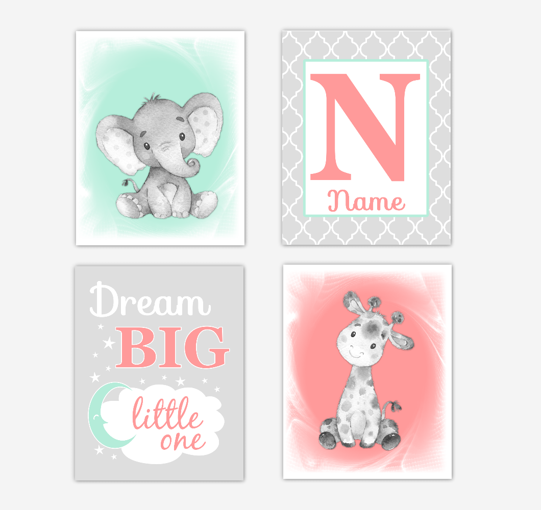 Safari Animals Coral Mint Green Baby Girl Nursery Decor Wall Art Prints Elephant Giraffe Personalized Pictures New Baby Girl SET OF 4 UNFRAMED PRINTS or CANVAS 02050
