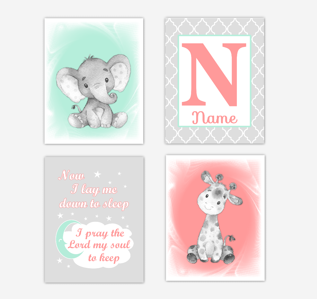 Safari Animals Coral Mint Green Baby Girl Nursery Decor Wall Art Prints Elephant Giraffe Personalized Pictures New Baby Girl SET OF 4 UNFRAMED PRINTS or CANVAS 02051