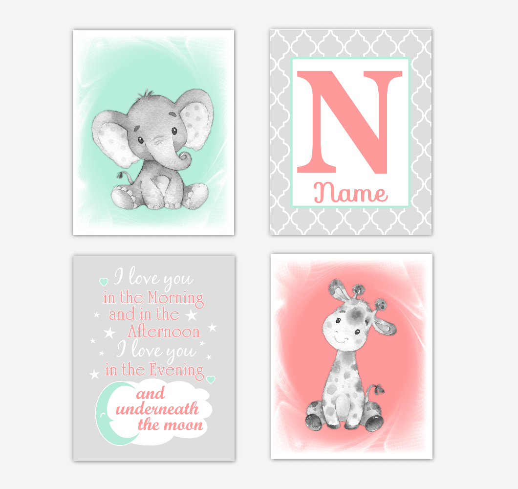Safari Animals Coral Mint Green Baby Girl Nursery Decor Wall Art Prints Elephant Giraffe Personalized Pictures New Baby Girl SET OF 4 UNFRAMED PRINTS or CANVAS 02052