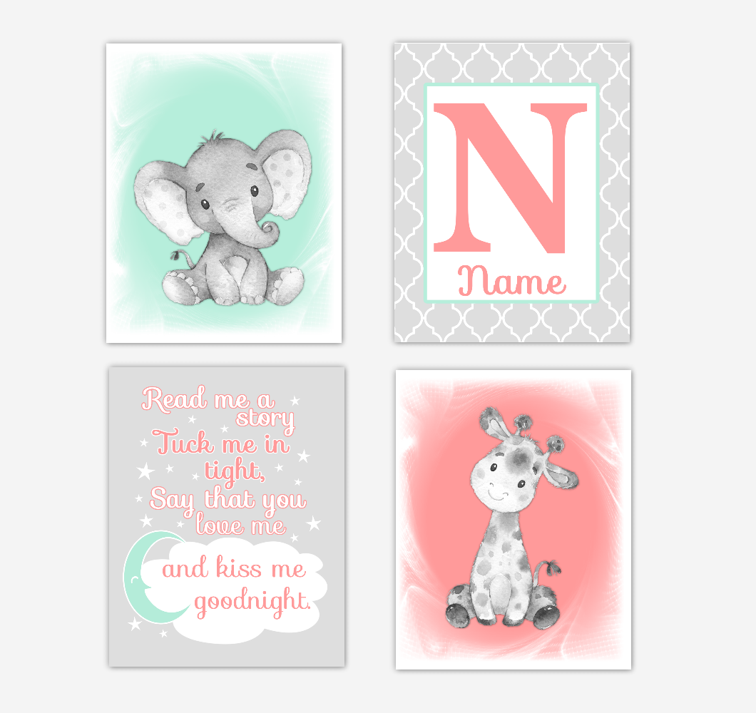 Safari Animals Coral Mint Green Baby Girl Nursery Decor Wall Art Prints Elephant Giraffe Personalized Pictures New Baby Girl SET OF 4 UNFRAMED PRINTS or CANVAS 02053