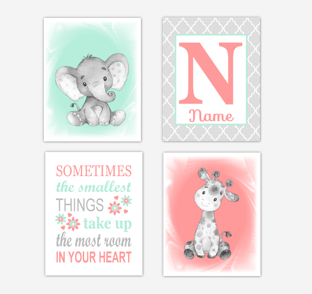 Safari Animals Coral Mint Green Baby Girl Nursery Decor Wall Art Prints Elephant Giraffe Personalized Pictures New Baby Girl SET OF 4 UNFRAMED PRINTS or CANVAS 02054